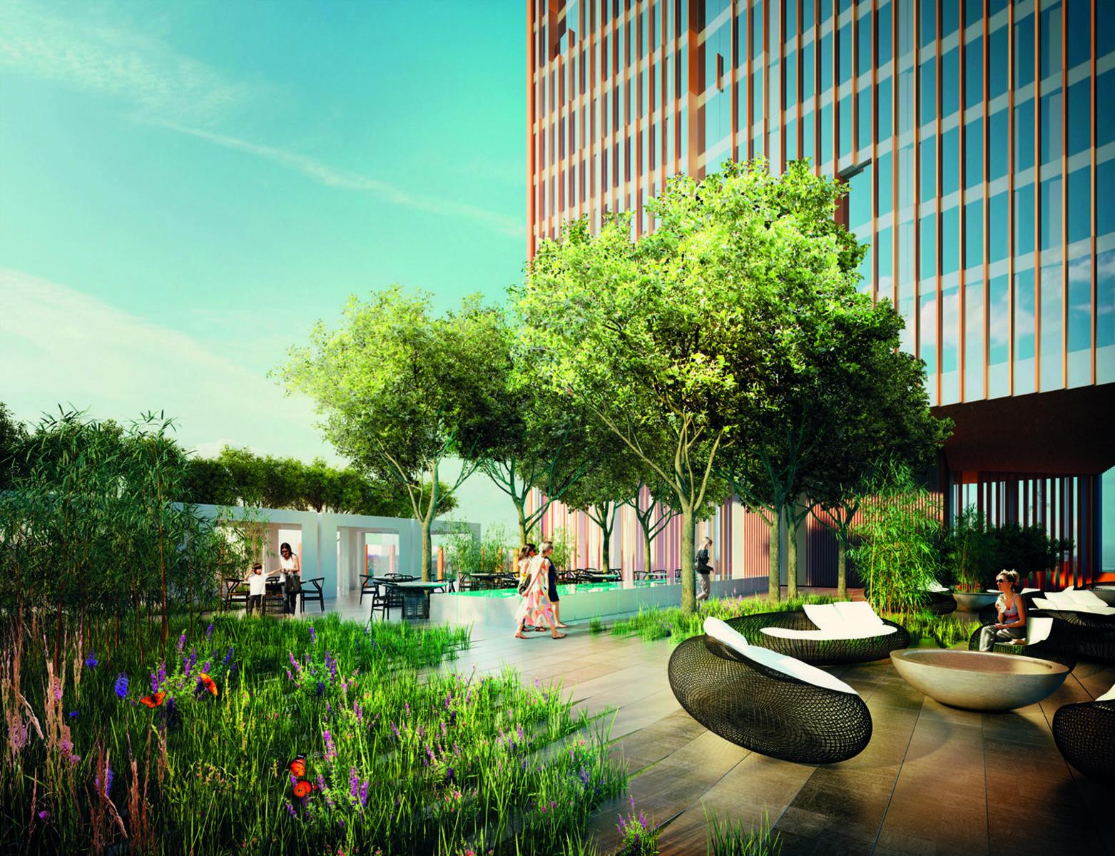 Manhattan Loft Gardens, hotel & residential development in Stratford. Garden.