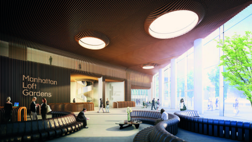 Manhattan Loft Gardens, hotel & residential development in Stratford. Hotel Lobby.